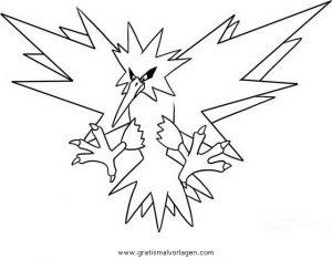 Pokemon Zapdos Zaptos Gratis Malvorlage In Comic Trickfilmfiguren