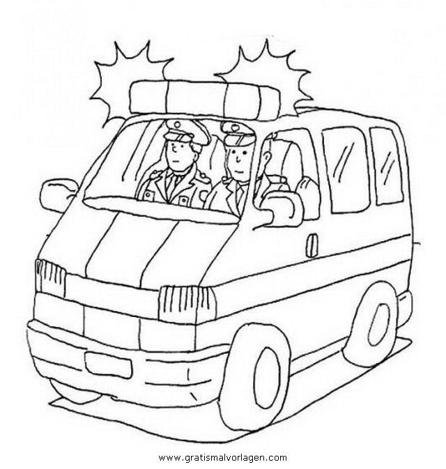 polizeiauto 1 gratis malvorlage in autos, transportmittel