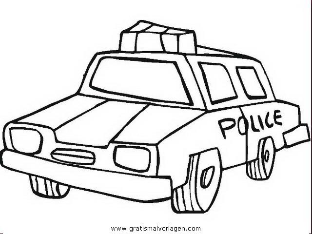 Malvorlagen Polizeiauto - Kinder zeichnen und ausmalen