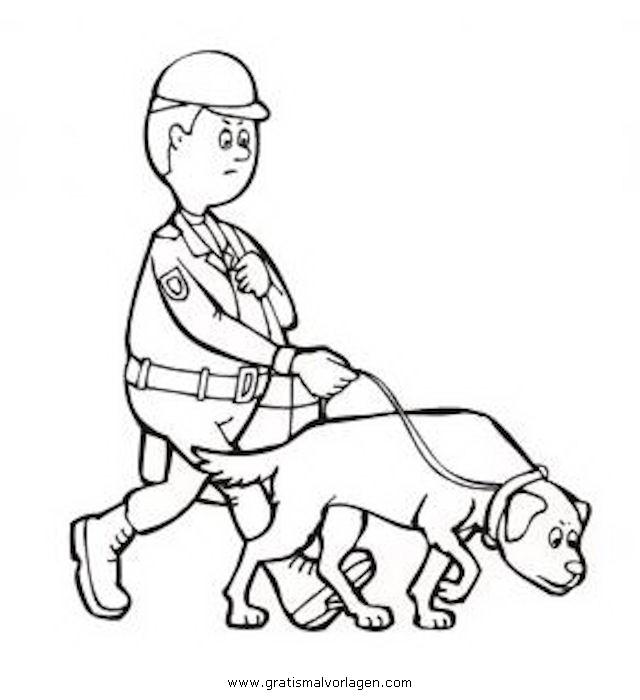 polizeihund gratis malvorlage in berufe handwerk menschen