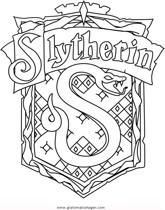 Potter Slytherin Gratis Malvorlage In Comic Trickfilmfiguren