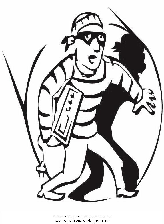 Rauber 04 Gratis Malvorlage In Menschen Polizei Ausmalen