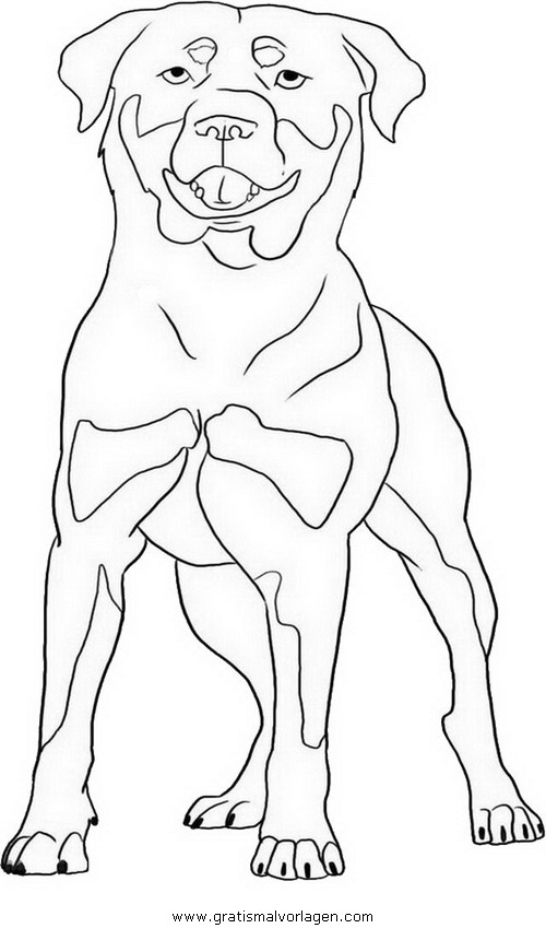 rottweiler 2 gratis Malvorlage in Hunde Tiere ausmalen