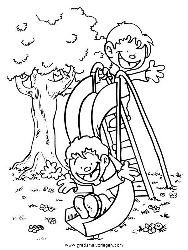 Rutschbahn Spielplatz Gratis Malvorlage In Kinder Menschen Ausmalen