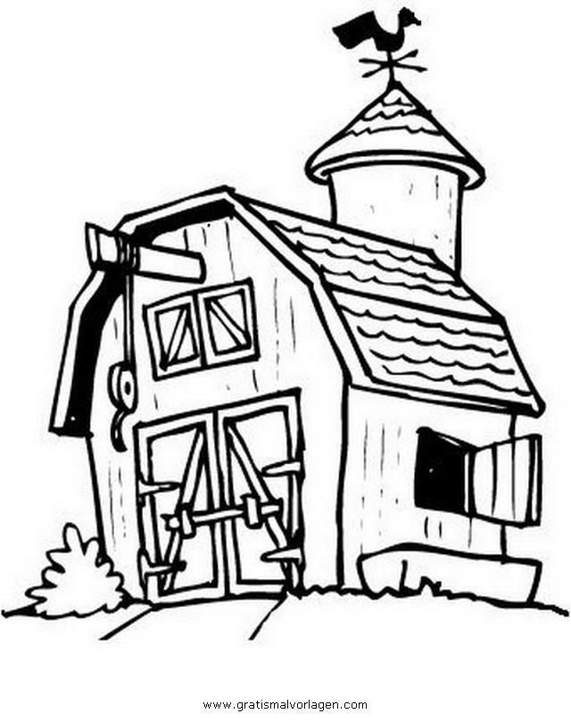 Scheune 2 Gratis Malvorlage In Diverse Malvorlagen Häuser Ausmalen