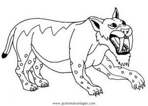 Smilodonte 1 Gratis Malvorlage In Dinosaurier Tiere Ausmalen