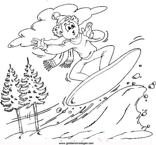 snow board 11 gratis malvorlage in ski sport  ausmalen