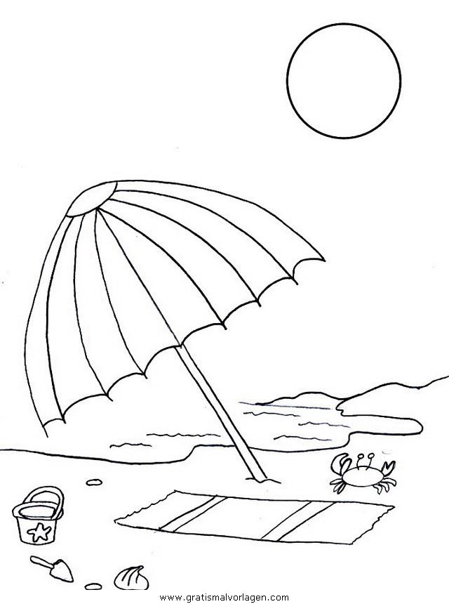 malvorlagen urlaub strand  zeichnen und färben