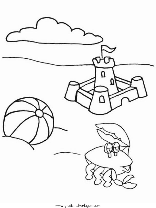sandburg strand 2 gratis malvorlage in natur sommer