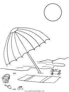 Strand malvorlage  Strand Sonnenschirm gratis Malvorlage in Natur, Sommer - ausmalen