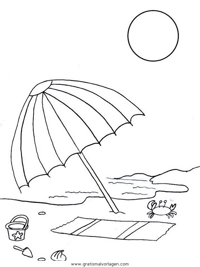 strand sonnenschirm gratis malvorlage in natur sommer