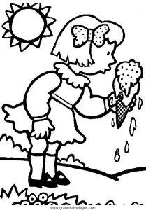 Mädchen Eis Gratis Malvorlage In Natur Sommer Ausmalen