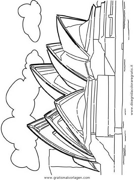Sydney Opernhaus 2 Gratis Malvorlage In Geografie Weltwunder Ausmalen