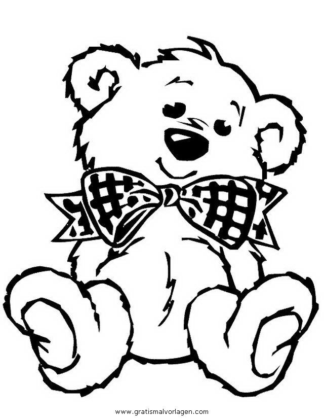 teddy bear 03 gratis Malvorlage in Bären, Tiere - ausmalen