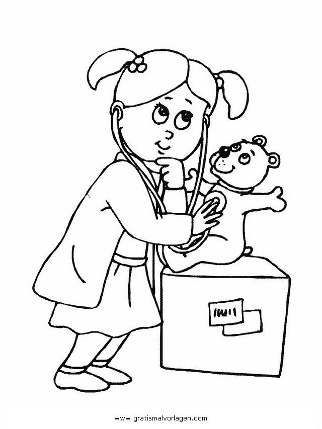 Tierarzt 1 Gratis Malvorlage In Berufe Handwerk, Menschen - Ausmalen