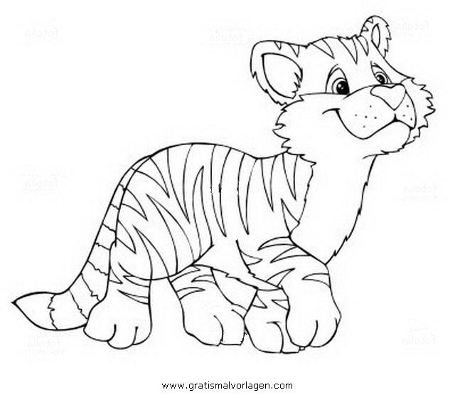 Tigerbaby 1 gratis malvorlage in tiere tiger ausmalen for Immagini tigre da colorare