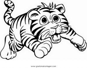 Tigerbaby 3 Gratis Malvorlage In Tiere Tiger Ausmalen