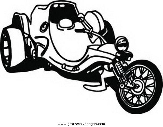 Trike Gratis Malvorlage In Motorrad Transportmittel Ausmalen