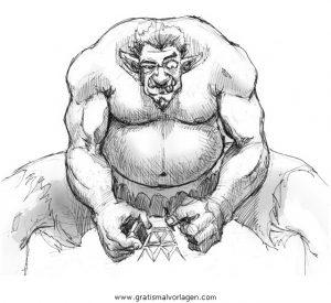 Troll 01 Gratis Malvorlage In Fantasie Monster Ausmalen