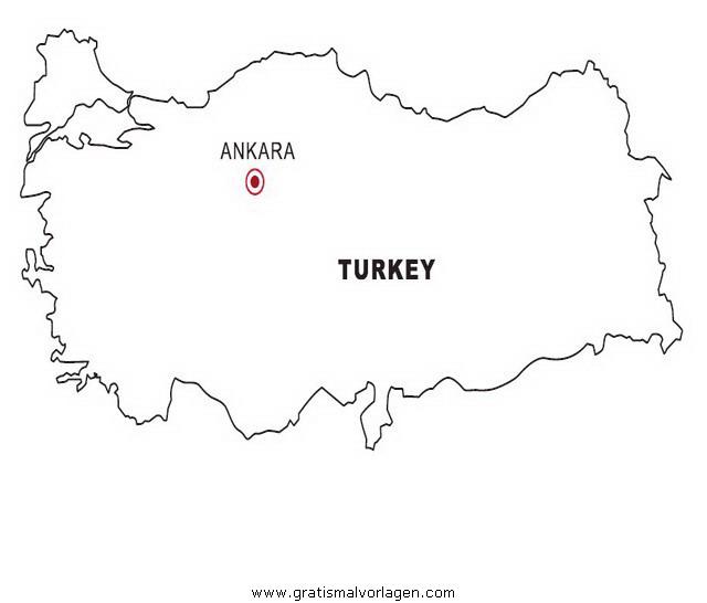 Landkarte Türkei gratis Malvorlage in Geografie, Landkarten - ausmalen