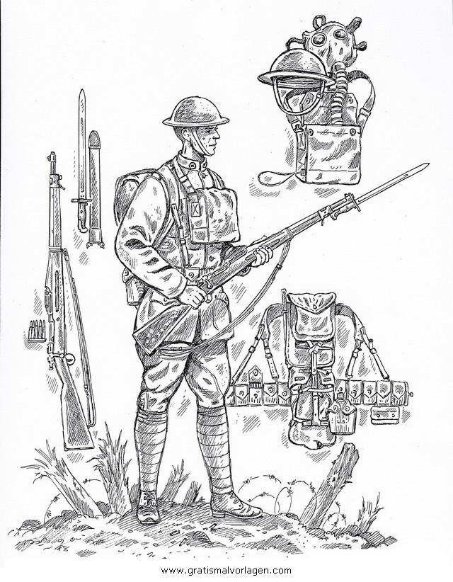 Waffen Krieger 60 Gratis Malvorlage In Menschen Soldat Ausmalen