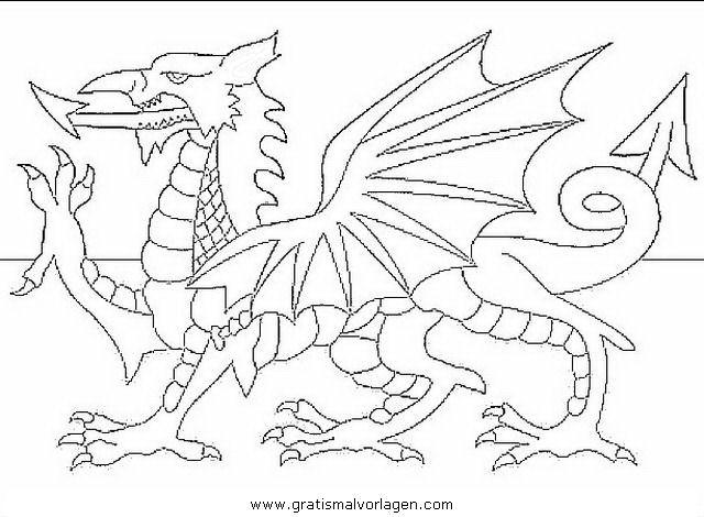 Wales 2 gratis Malvorlage in Flaggen, Geografie - ausmalen