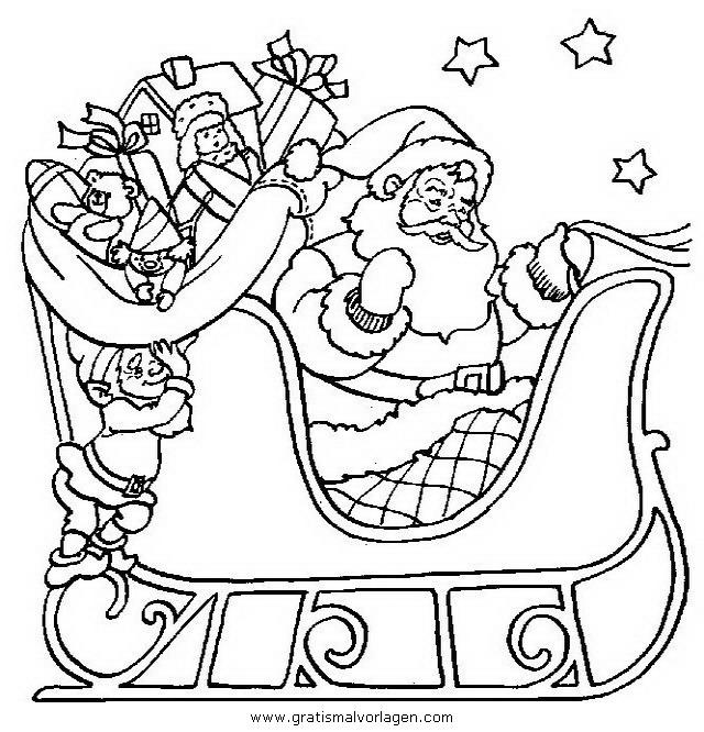 weihnachtsmanner schlitten 13 gratis malvorlage in