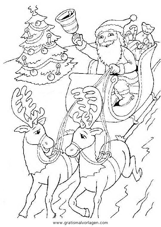 weihnachtsmanner schlitten 48 gratis malvorlage in