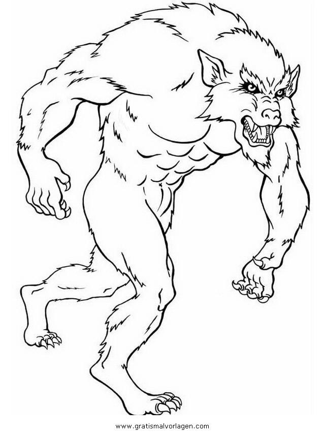 werwolf 5 gratis malvorlage in fantasie, monster - ausmalen