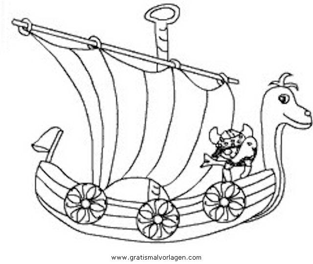 Wikingerschiff 3 Gratis Malvorlage In Schiffe