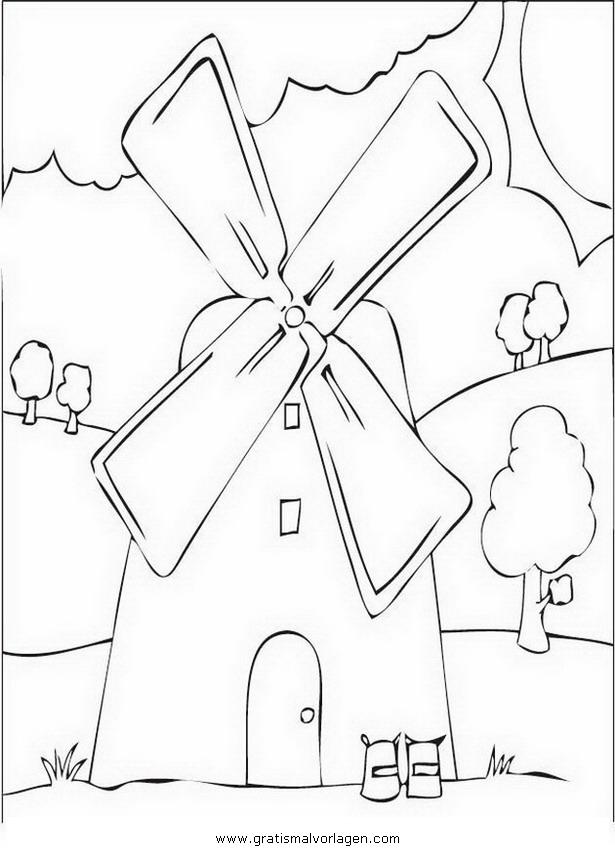 Windmuehle 7 Gratis Malvorlage In Diverse Malvorlagen, Häuser