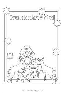 wunschzettel engel rehe gratis malvorlage in spiele