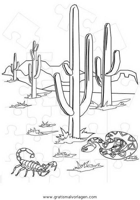wüstenlandschaft gratis malvorlage in natur, sommer - ausmalen