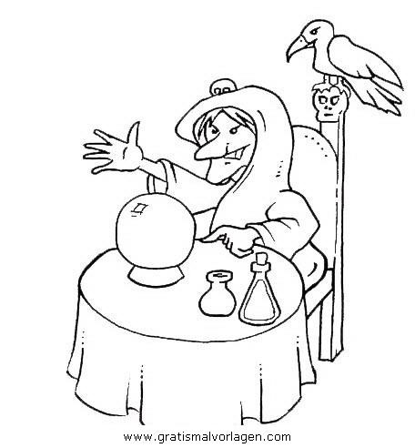 zauberin 6 gratis malvorlage in fantasie, zauberer - ausmalen