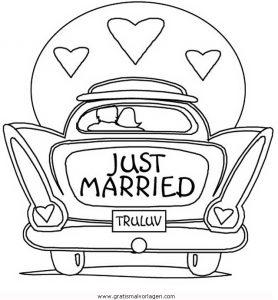 Hochzeitsauto just married zum ausdrucken