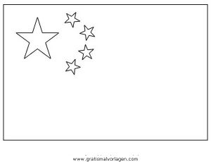 Malvorlage China Chinesische Flagge
