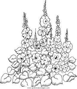 Stockrosen Gratis Malvorlage In Diverse Malvorlagen Garten Ausmalen