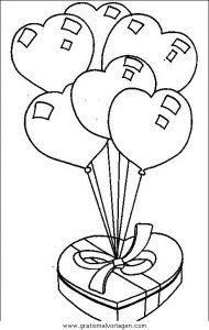 Herz Luftballons Gratis Malvorlage In Diverse Malvorlagen