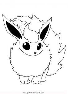Pokemon Flamara 1 Gratis Malvorlage In Comic Trickfilmfiguren