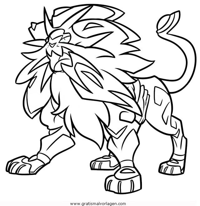 Pokemon Solgaleo 1 Gratis Malvorlage In Comic Trickfilmfiguren