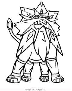 Pokemon Solgaleo 2 Gratis Malvorlage In Comic Trickfilmfiguren