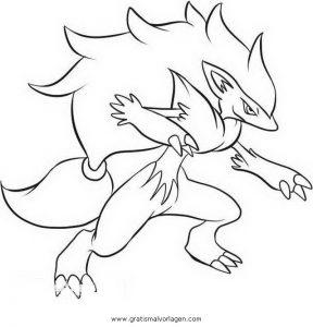Pokemon Zoroark 6 Gratis Malvorlage In Comic Trickfilmfiguren