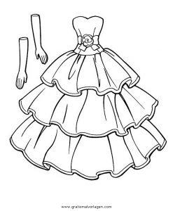 Kleid 3 Gratis Malvorlage In Diverse Malvorlagen Kleidung Ausmalen